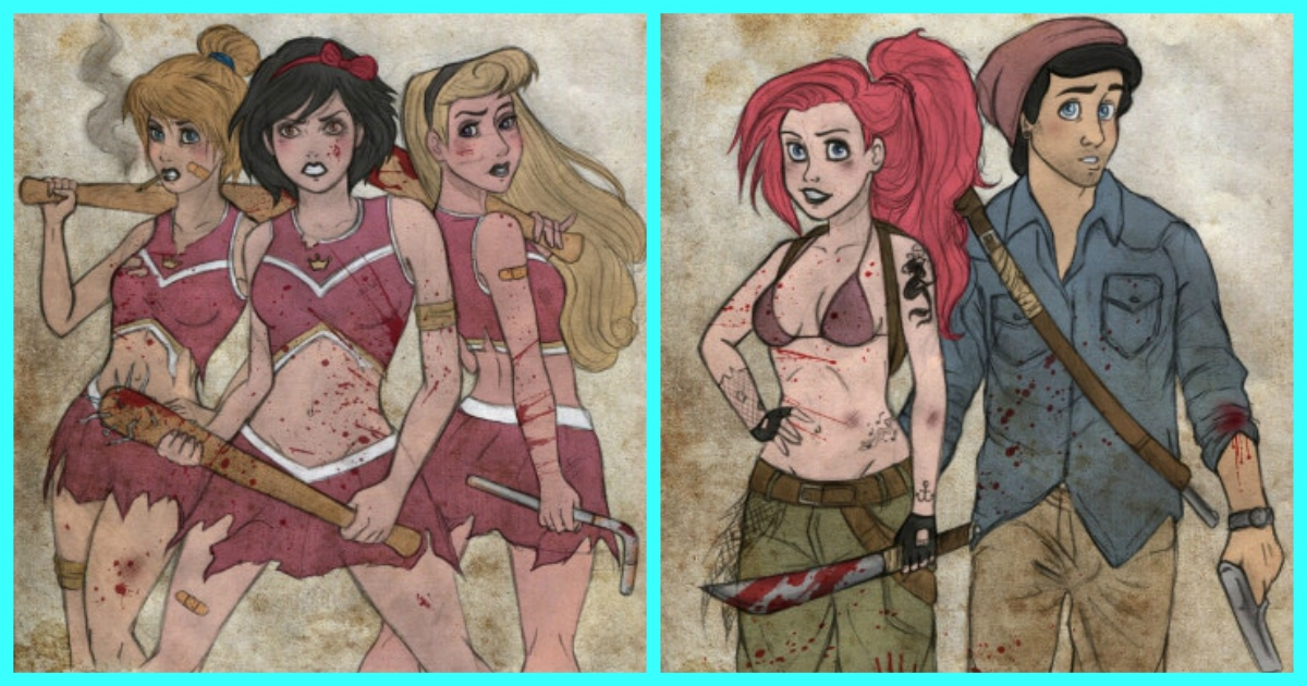 23 Pictures Depict  Loveable Disney Characters In Ruthless World Of Walking Dead!