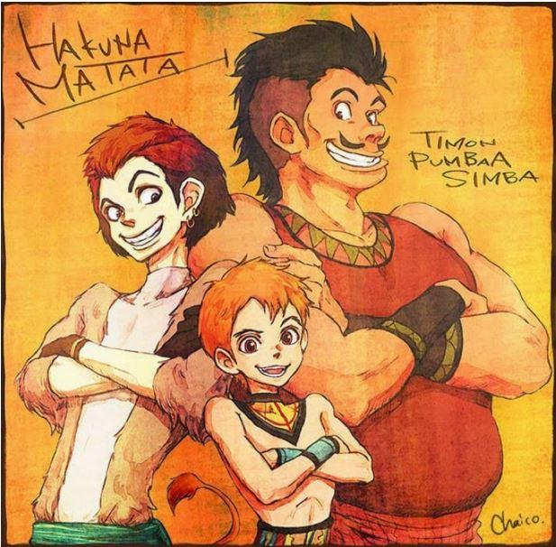 3. Timon, Pumba, and Simba (The Lion King)