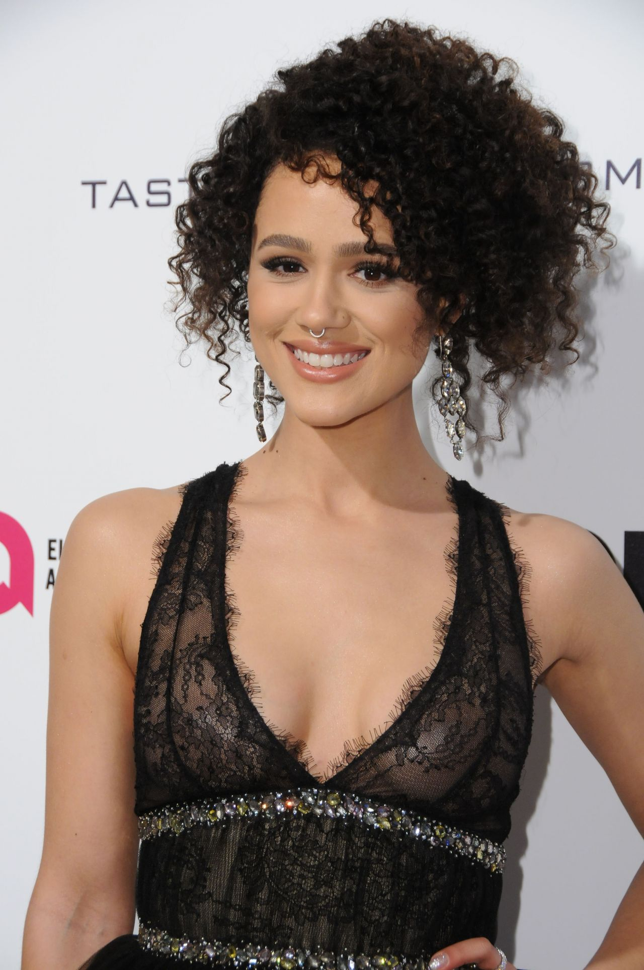Nathalie Emmanuel Flashes Nipples At Oscar Party - Geeks -6664