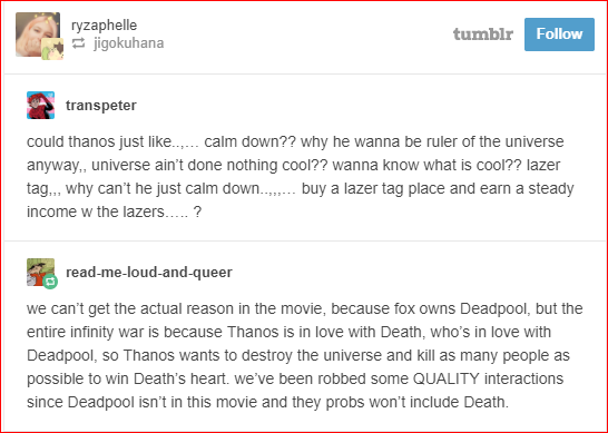 MCU: The Most Logical Tumblr Posts About Mad Titan Thanos | GEEKS ON