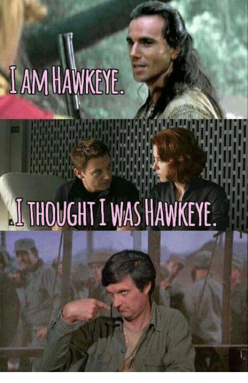 cheerful Hawkeye meme