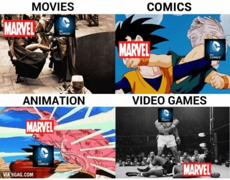 humorous DC VS MARVEL Memes