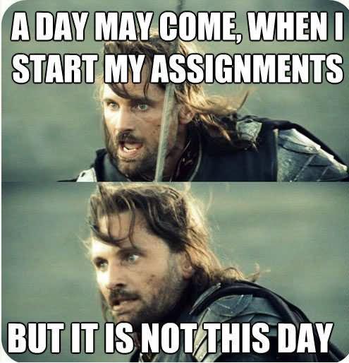 cheerful homework meme