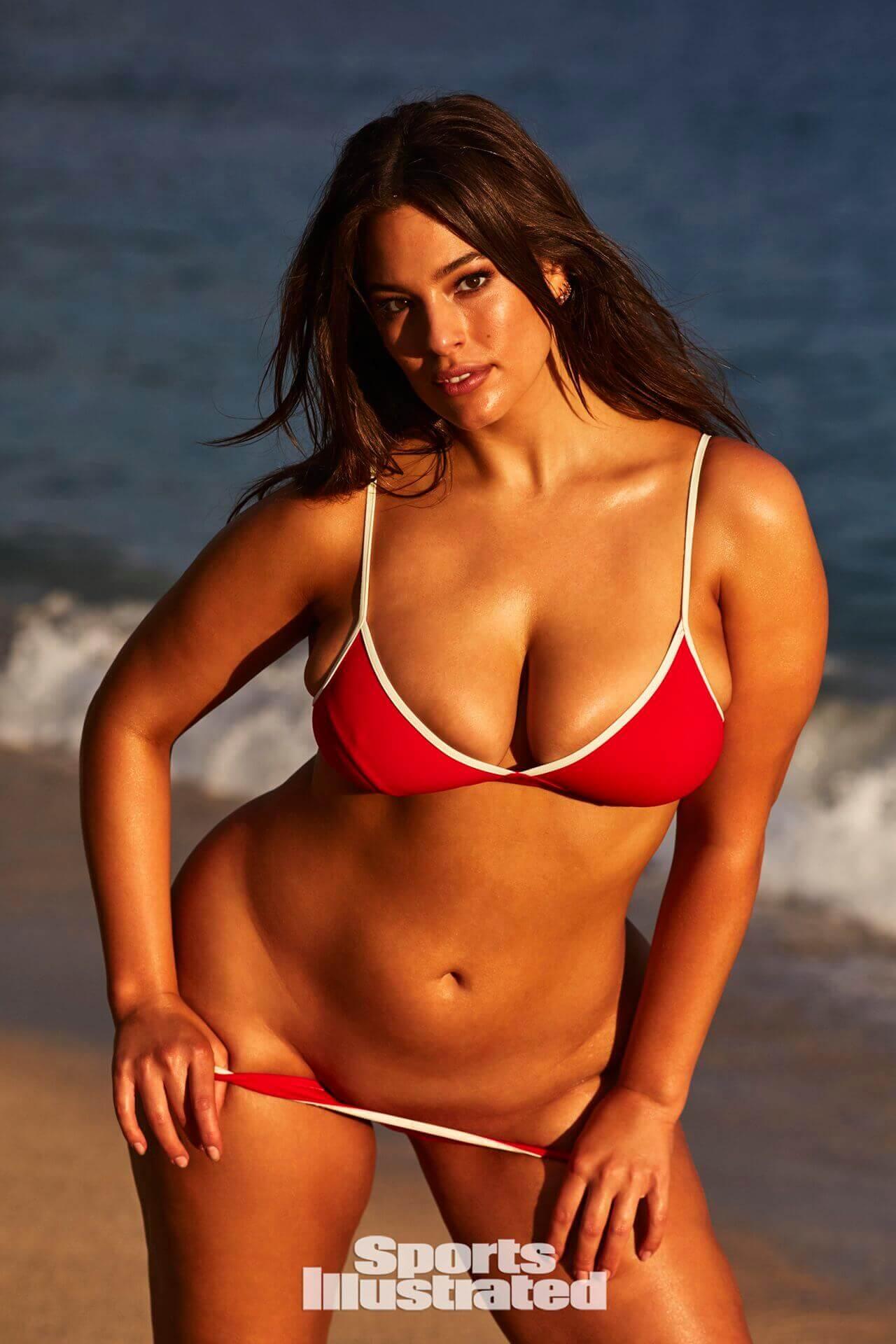 Ashley Graham sexy red bikini