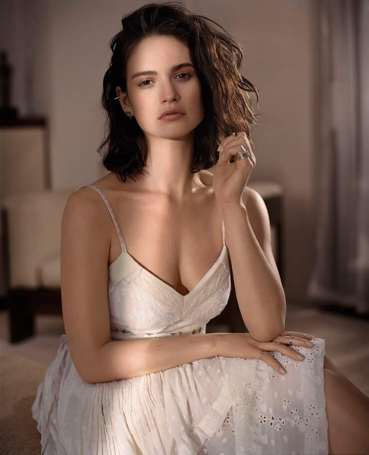 Lily James sexy cleavage pictures