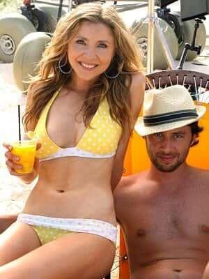 Sarah Chalke yellow bikini