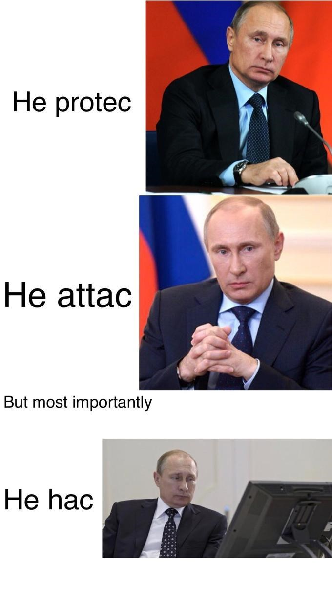 droll, He Protec but He Also Attac memes
