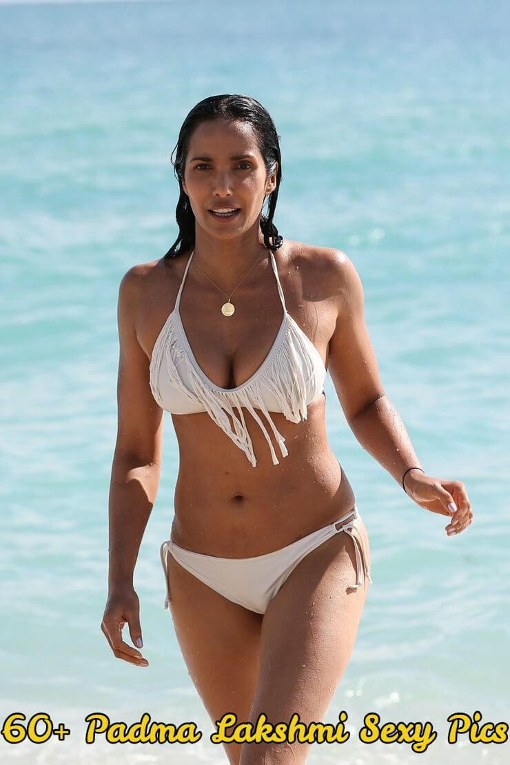 padma lakshmi white bikini