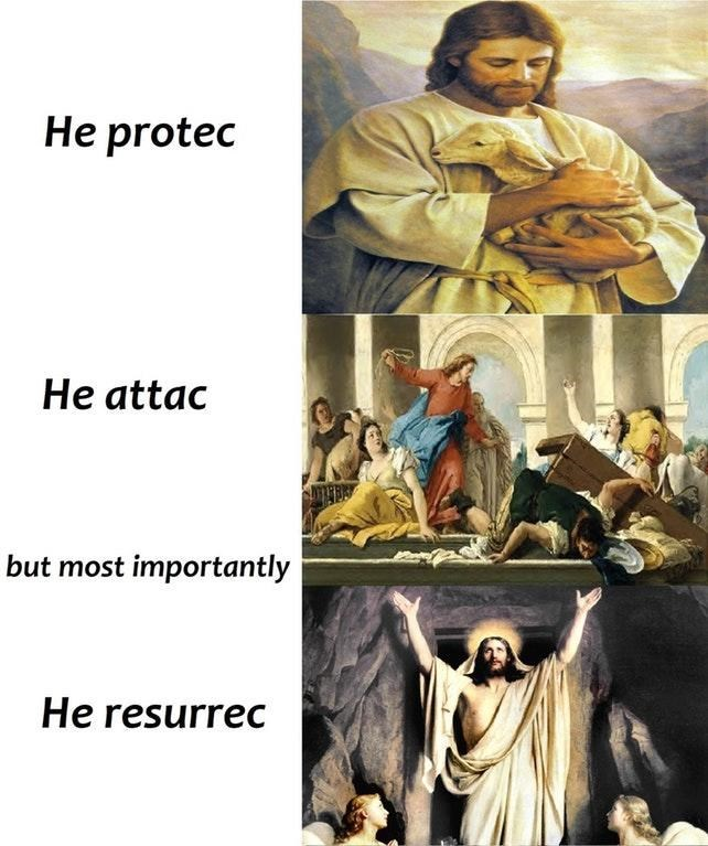 sparkling He Protec but He Also Attac memes