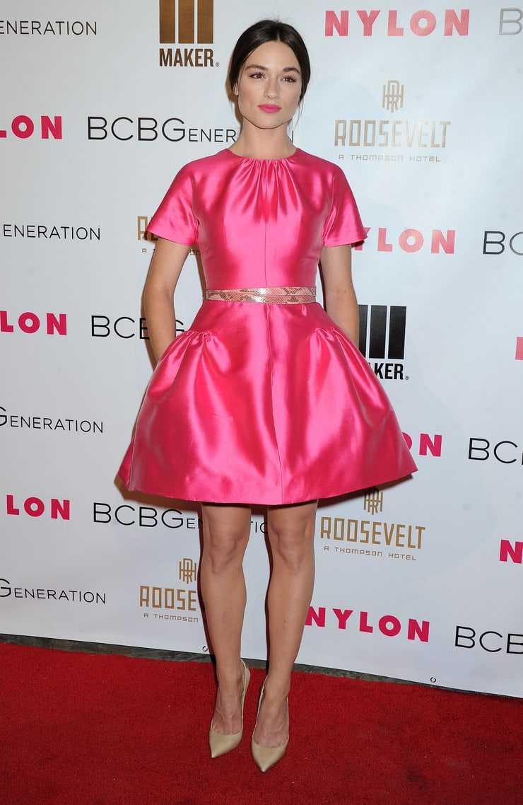 Crystal Reed hot pink dress