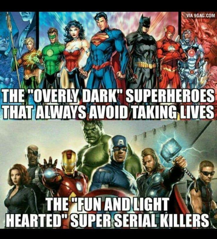 entertaining Avengers Vs Justice league memes