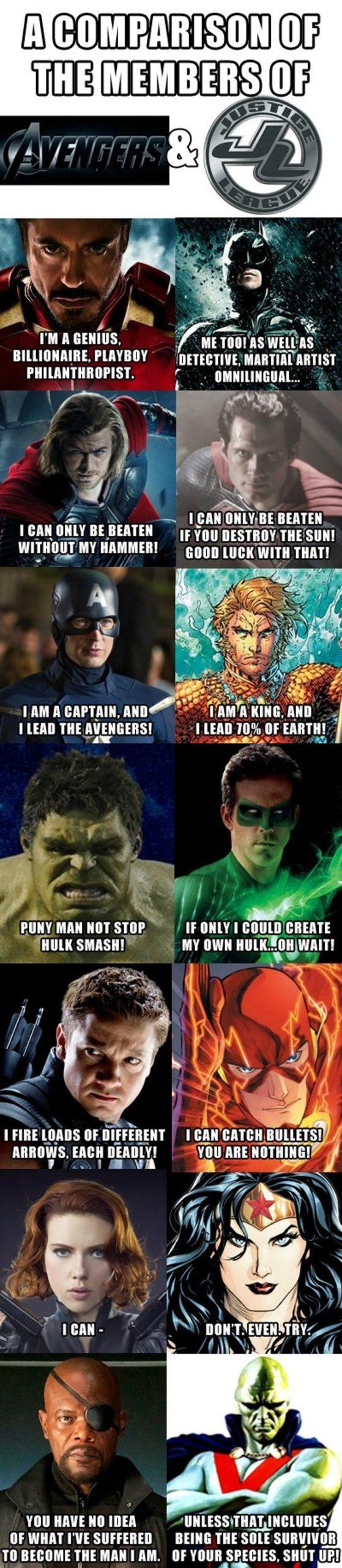 lively Avengers Vs Justice league memes
