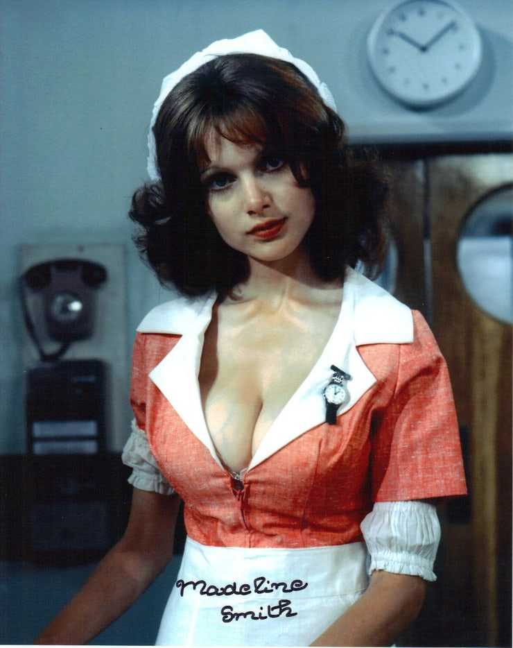 Madeline Smith sexy cleavage pic