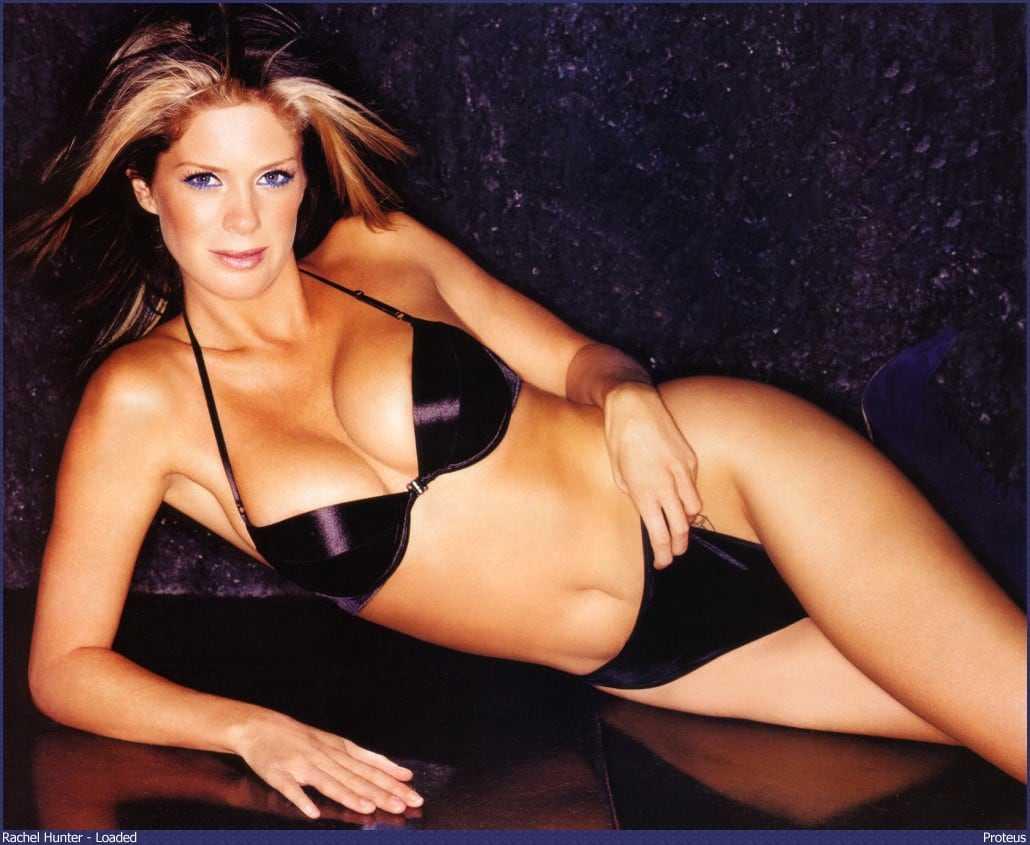 Rachel Hunter sexy black bikini pic