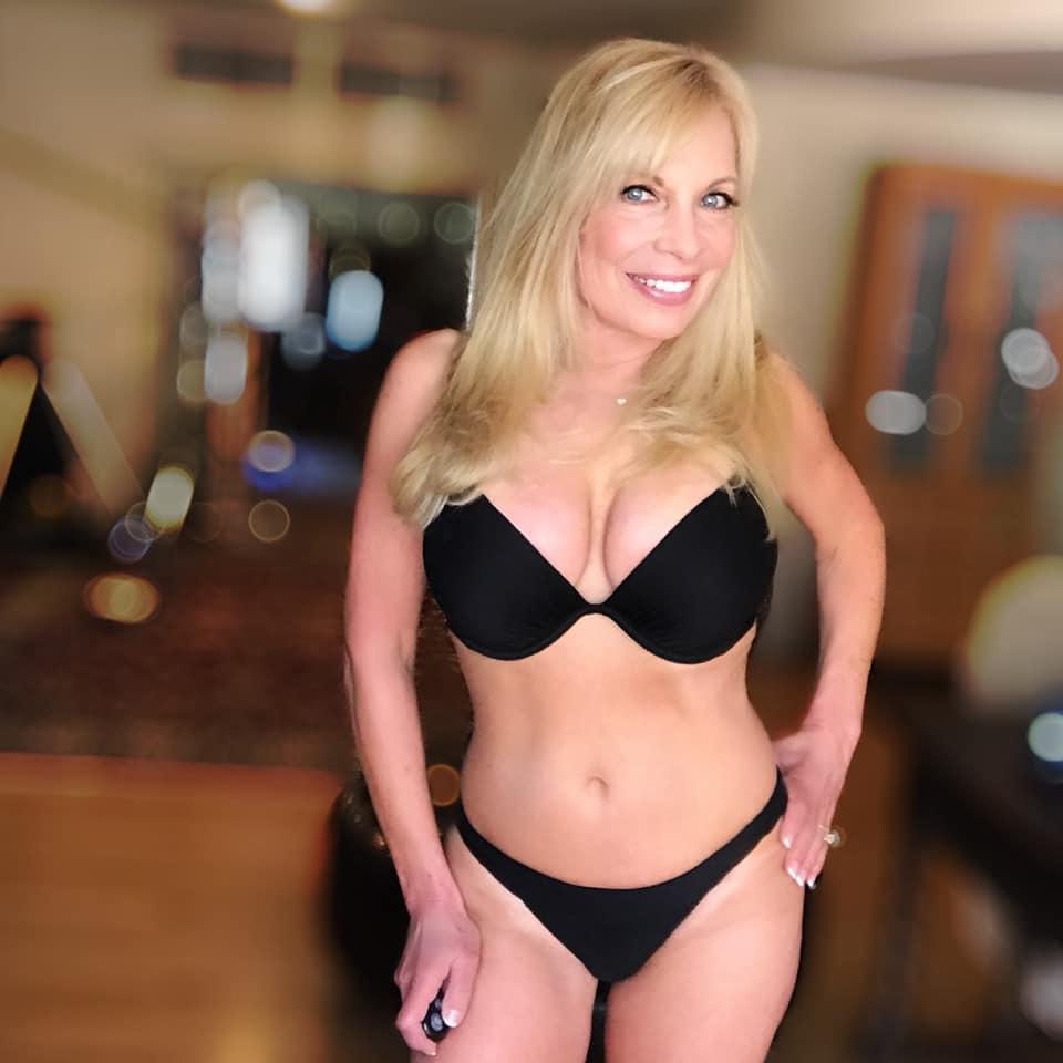 Becky LeBeau sexy black bikini pic