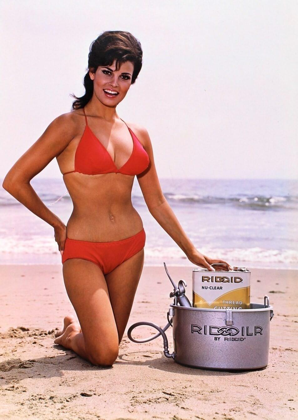 Raquel Welch sexy red bikini pics