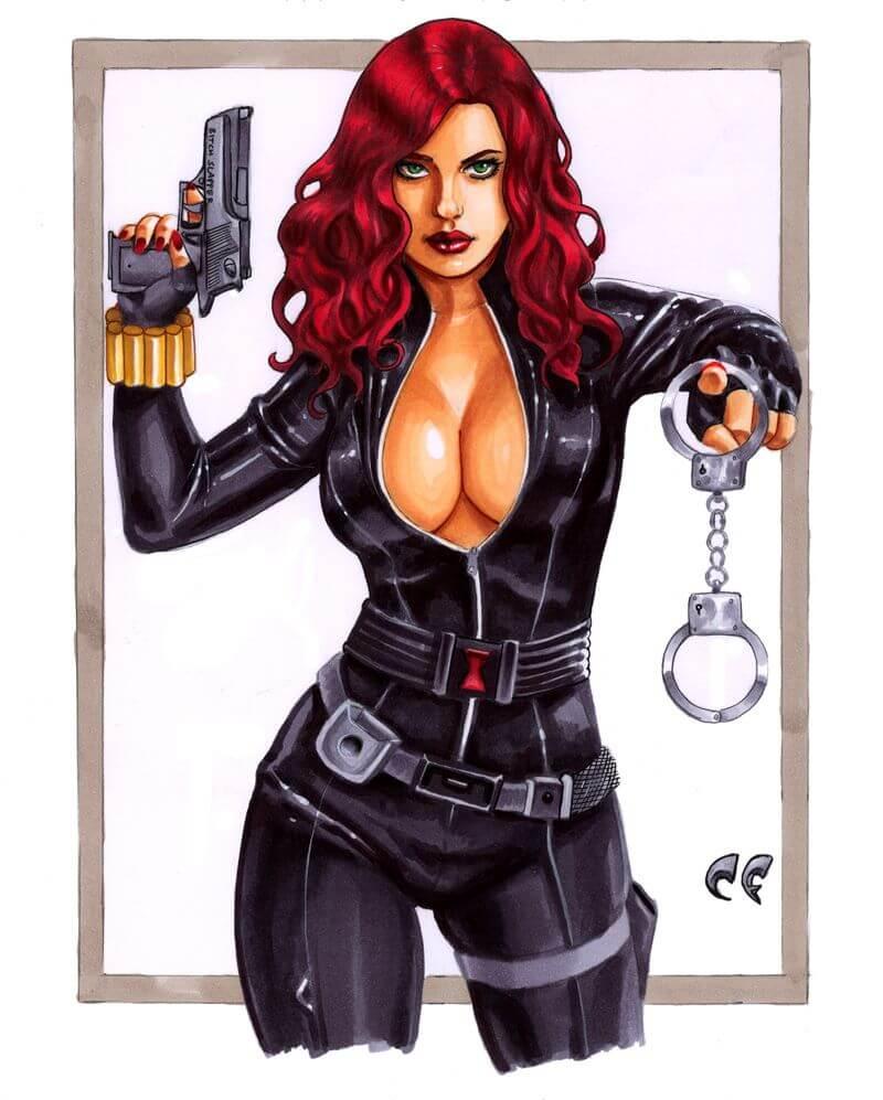 Black Widow sexy tits pics