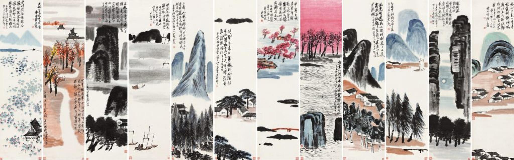 Qi Baishi, Twelve Landscape Screens, 1925