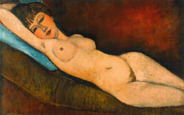 Reclining Nude With Blue Cushion – Amedeo Modigliani
