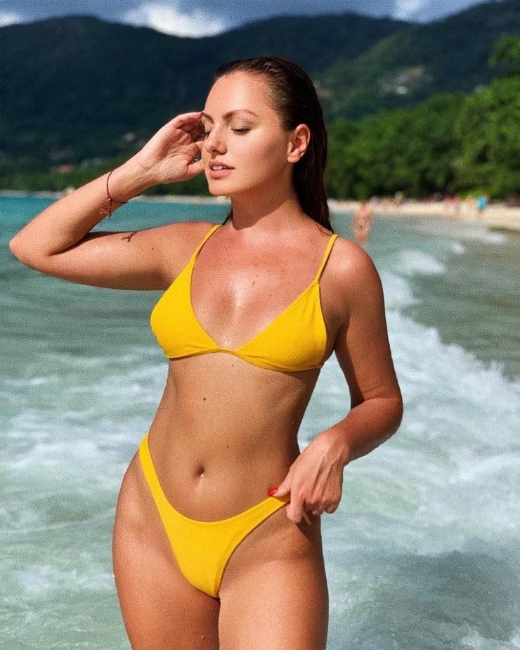 alexandra stan yellow bikini